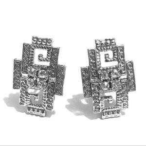 Jewelry - Deco style rhinestone clip on earrings